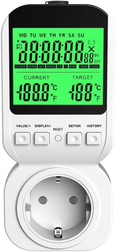16A Energiekostenmessgerät Stromzähler Steckdose Wattmeter mit LCD-Display 3680W