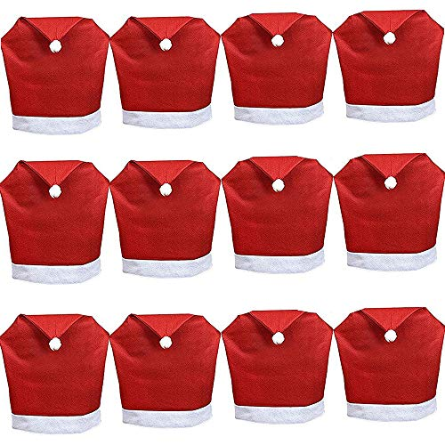 yunanwa 12 Pack Set of Santa Claus Red Hat Chair Covers Caps Slipcovers for Christmas Xmas Dinner Table Chairs Decoration (12 Pack)