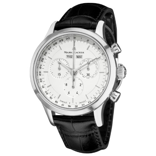 Maurice Lacroix Men's ' Les Classiqu Swiss Quartz Stainless Steel and Leather Casual Watch, Color:Black (Model: LC1008-SS001130 130 Maurice Lacroix Watches