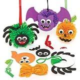 Kits de décorations créatives en forme de pompons aux couleurs d'Halloween que les enfants pourront fabriquer, décorer et exposer (Lot de 3).
