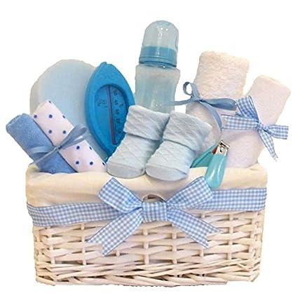 Lola en osier blanc bleu bébé Panier Cadeau/Panier/Baby Pour Bébé Douche cadeau