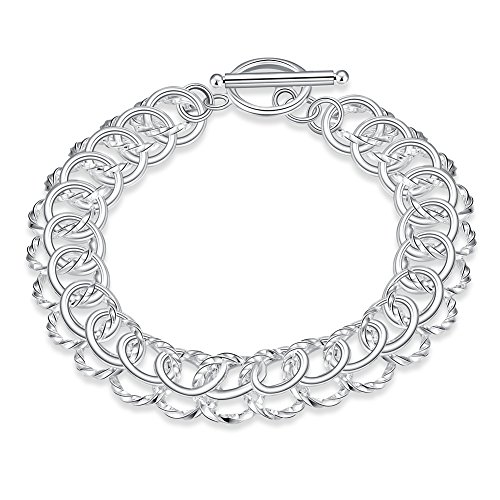 NA BEAUTY Sterling Silver 2 Layers Twisted Link Chain Bracelet with Diamond Cut and Hight Polish Loops,Toggle Button 8