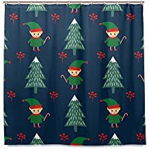 ALAZA Bathroom Shower Curtains Christmas Tree And Elf With Candy Cane Mildew Resistant Polyester Fabric Shower Bath Curtains 72 x 72 Inches Hooks Included