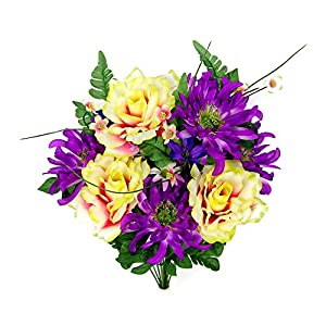 Admired By Nature 2 Artificial Rose, Mum Flower with Greenery Foliage Mixed Bush for Home, Wedding, Restaurant & Office Decoration Arrangement, 14 Stems 15