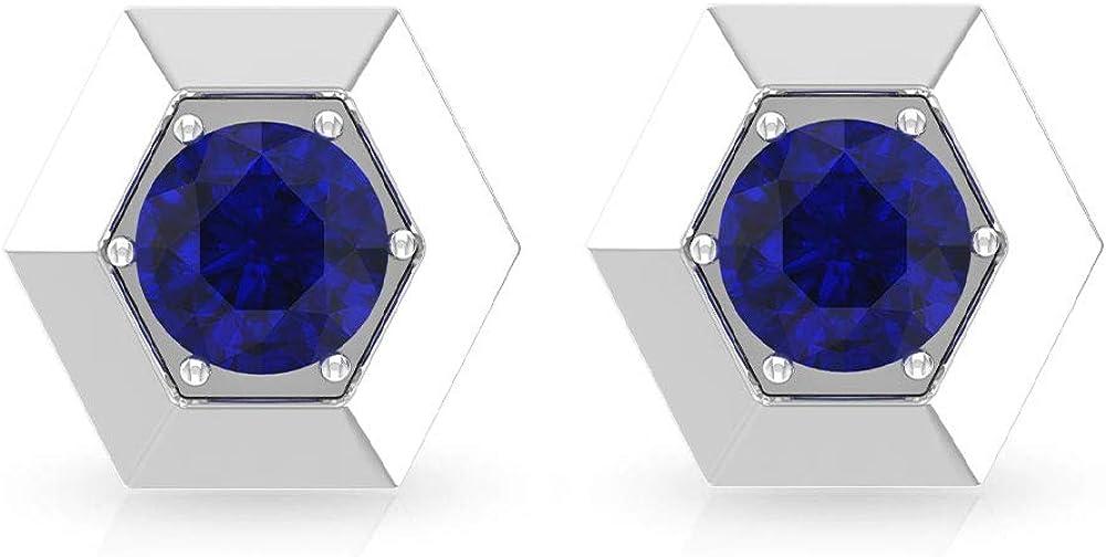 Aretes de zafiro azul solitario de 0,68 ct, hexágono geométrico, pendientes de boda de dama de honor, certificado SGL, pendientes de piedras preciosas, pendientes de niñas, tornillo hacia atrás