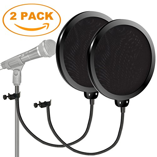 Pop Shield, Kasonic Studio Microphone Mic Round Shape Wind Screen Pop Filter Mask Shield Swivel Mount 360 Flexible Gooseneck Holder (2 Pack)