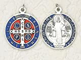 Religious Gifts St. Benedict Medal Blue Enameled Silver-Tone 1-1/4 Inches