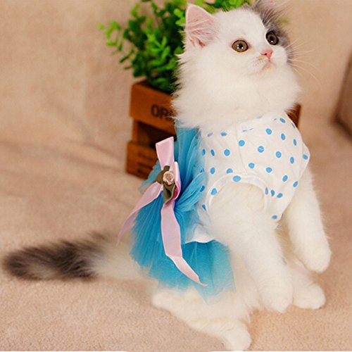 iPet-Floral-Princess-Cat-Party-Dress-Small-Dog-Tutu-Ball-Gown-with-Flower-Puppy-Multi-layer-Lace-Mesh-Skirt-with-Dot-Doggy-Photo-Apparel-Doggie-Birthday-Stretchy-Clothes-Spring-Summer-Holiday-Wear-wit