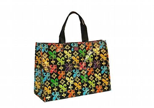 (Joann Marie Designs P2LT2BFDL Poly Lrg. Tote - Black Fleur De Lis Pack of 6 )