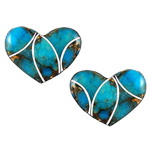 Turquoise Hearts Earrings 925 Sterling Silver Genuine Turquoise (Select Style) (Hearts) Sterling Silver Turquoise