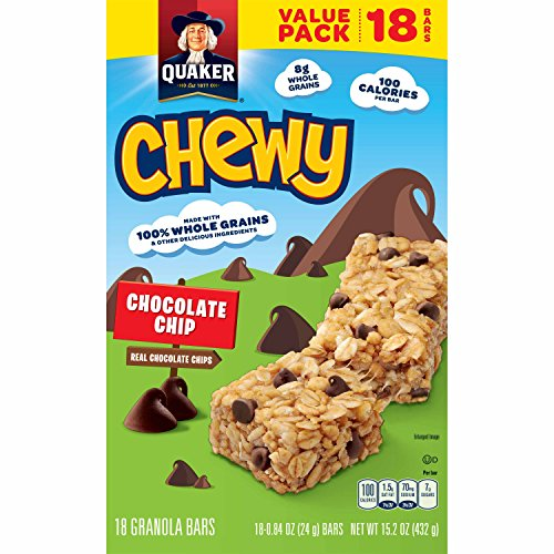 - Quaker Chewy Granola Bars, Chocolate Chip, 18 Bars