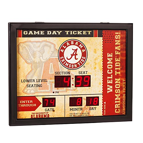 Team Sports America NCAA Bluetooth Scoreboard Wall Clock, Alabama Crimson Tide Alabama Crimson Tide Clock