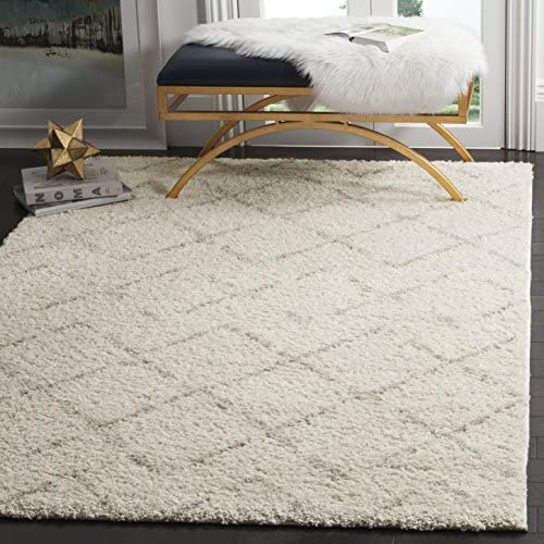 Safavieh Arizona Shag Collection ASG743A Southwestern Diamond Geometric Ivory and Beige Area Rug 5'1″ x 7'6″