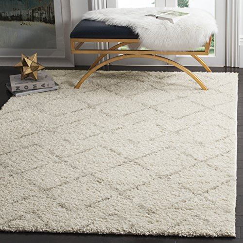 Safavieh Arizona Shag Collection ASG743A Southwestern Diamond Geometric Ivory and Beige Square Area Rug (6'7'' Square) by Safavieh