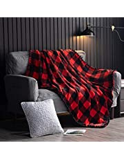 "Check Flannel Christmas Blanket with Pompom Fringe Tassel Bed Blanket for Couch Couverture Buffalo Plaid Gingham Velvet Plush Bed Blanket Flannel Fleece All Season Blanket, Red and Black, 60""x80"""