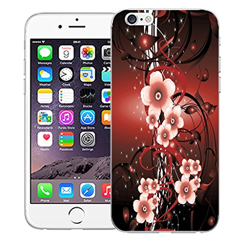 "Mobile Case Mate iPhone 6S 4.7"" Silicone Coque couverture case cover Pare-chocs + STYLET - Red Flower Vine pattern (SILICON)"