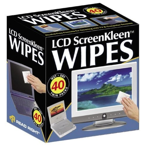 Wholesale CASE of 10 - Read/Right Alcohol-free LCD Screen Kleen Wipes-Screen Kleen, Alcohol Free, Wet/Dry Wipes, 40 Twin PK/BX by Rea