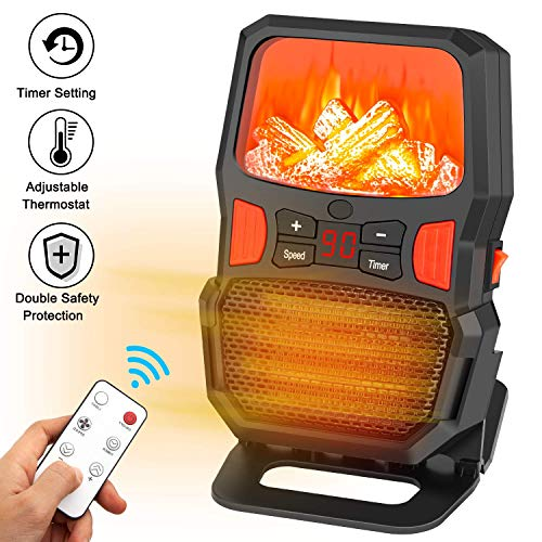 Space Heater, Taiker 1000W Portable Personal Heater with Remote Control Adjustable Thermostat Over-Heat Tip-Over Protection for Home and Office