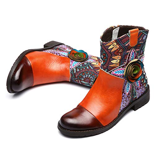 Block Size Ladies Top Snow Outdoor Boots High Round Slip Shoes Ankle Flower Toe Boots Low Women gracosy Zip Comfy Handmade Flat Boots Boots Leather Walking Anti Retro Orange Warm Heel Winter Casual YUA8a