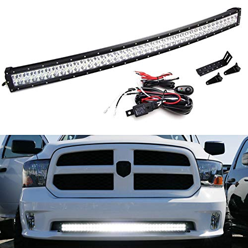 (iJDMTOY Lower Grille Mount 40-Inch LED Light Bar Kit For 2009-up Dodge RAM 1500 Express w/Sport Bumper, Includes 240W Curved LED Lightbar, Lower Bumper Opening Mounting Brackets & Switch Wiring Kit )