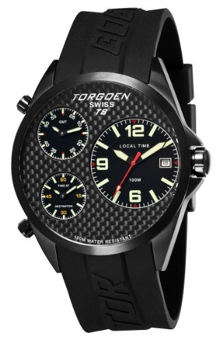 TORGOEN Swiss T08304 Men's 45.5mm Aviation Watch with Triple Time Zone, Carbon Fibre Dial and Black PU Strap
