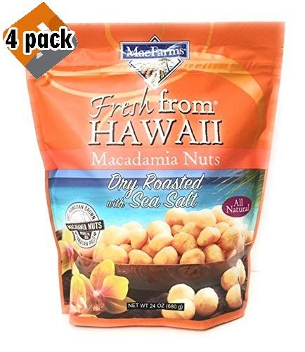MacFarms Dry Roasted Macadamia Nuts With Sea Salt Fresh From Hawaii 24 Ounce (4 pack)
