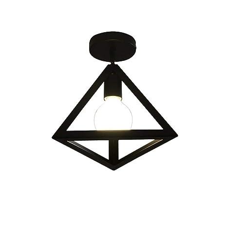 NIUYAO Lámpara de Techo Forma Triángulo Metal Iluminación Ciling Light Industrial Retro con 1 Luz-Negro
