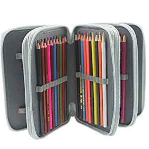 Pshine Multi-layer 72 Slots Students Pencil holder- Pencil Case-Pencil bag-Pencil pouch-Pencil wrap with Zipper (Grey)