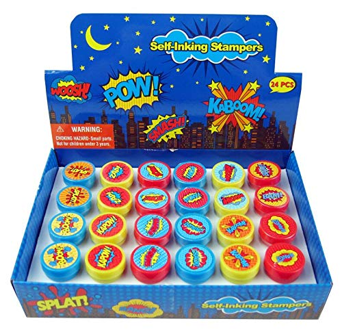 TINYMILLS 24 Pcs Superhero Stampers for Kids -