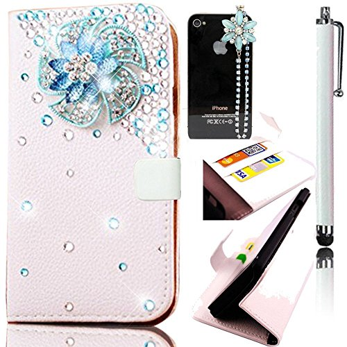 Samsung Galaxy A3 2016 PU Leather Notebook Type,Sunroyal Blue Diamond Flower Wind Mill Pattern Standing Magnetic Folio Slim Case with Card Slots+Beautiful Dustproof Pendant+White Metal Touchscreen Pen