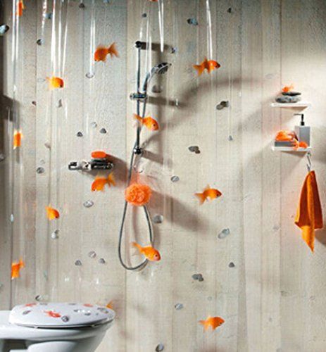 (MYtodo Goldfish play stone transparent PVC waterproof metal buckle shower curtain)