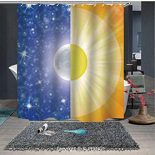 SUPFENG Interesting Shower Curtain Split Design with Stars in The Sky and Sun Beams Light Solar Balance Image (72W x 72L Inch) Colorful,Bold Design, Waterproof, Easy to Care ,Privacy Protection