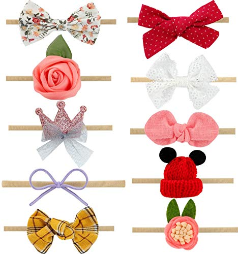 (Nanablala Baby Girl Headbands and Bows, Newborn Infant Toddler Girls 10 pack Hair Accessories)