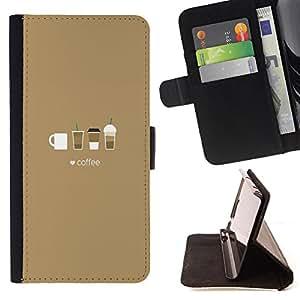 King Case - FOR Samsung Galaxy Note 3 III - Coffee Cup Patten Art - Prima caja de la PU billetera de cuero con ranuras para tarjetas, efectivo Compartimiento desmontable y correa para la mu?eca