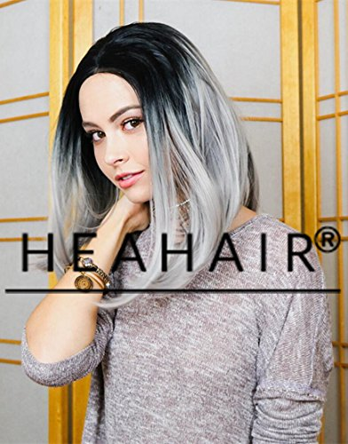 Heahair Natural Looking Dark Root Ombre Sliver Handtied Synthetic Lace Front Wig for Woman (Ombre Sliver (Geisha Costume Australia)