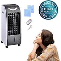 Koval Inc. 65W Portable Remote Control Evaporative Air Cooler Fan Humidifier with 6L Tank (65 W, Gray)