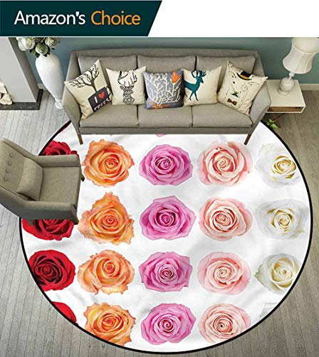 Affection Basket - RUGSMAT Rose Modern Simple Round Rug,Affection Love Celebration Lifts Basket Swivel Chair Pad Coffee Table Rug Round-55