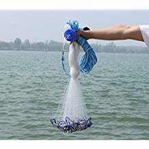 American Saltwater Fishing Cast Net for Bait Trap Fish,3/8 inch Mesh Size 4/6/7/8/9/10ft Radius
