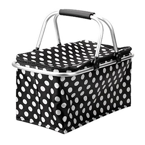 Summer Portable All in One Picnic Basket Bag Foldable Insulated Cooler Picnic Basket Bag Plates Cutlery Insulated Cooler Set Perfect Cooler Reusable Lunch Box to Carry Your Food and Snack
