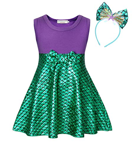 Jurebecia Girls Little Mermaid Dress for Halloween Costume Princess Party Fancy Dress up 1-8 Years (Sleeveless 01, -