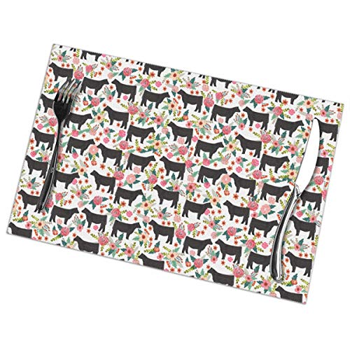 Flowers And Animals In Cattle Farm Reserve 6 Piece Set Of Placemats Pc Party Kitchen Dining Room Home Table Place Mat Patio Holidays Decorations Decor Ornament Themed Print Pattern Kid Girls
