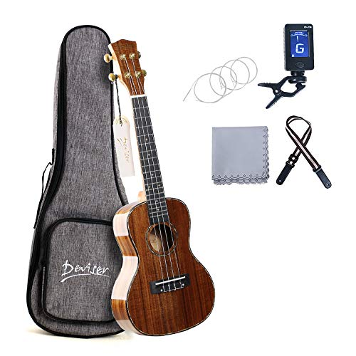 Deviser Concert 23inch professional ukulele Solid Koa Top Koa back & side with Gig Bag & Aquila String & Digital Tuner & Strap & Polishing Cloth