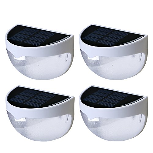 Solar Fence Post Lights Aerlemai 6LED 1000mAh Waterproof Security Step Night Light for Stair, Patio,Garden (White) 4 Pack by Aerlemai