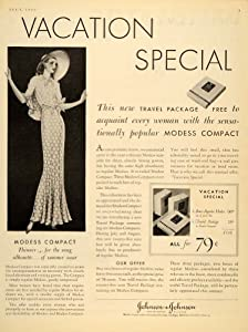 1930 Ad Johnson Modess Compact Vintage Dress Vacation Travel Sanitary Napkin Art - Original Print Ad