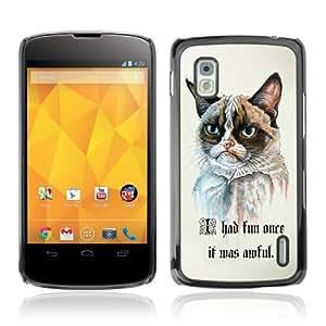 YOYOSHOP [Funny Grumpy Cat Painting ] LG Google Nexus 4 Case