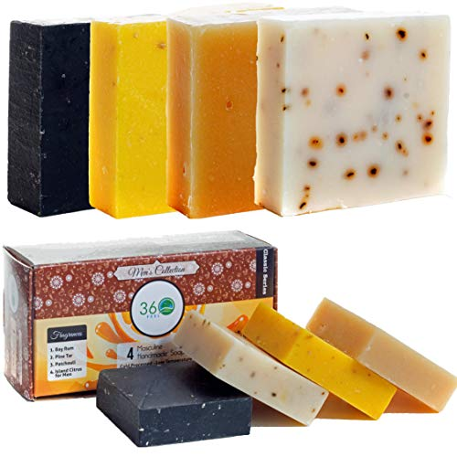 - 4 Men's Handmade Soap bar, X-LARGE 20oz - Masculine fragrances that you always been looking for- Normal to dry skin, Natural Soap - Organic Castile lye Soap, Made in USA- 360Feel