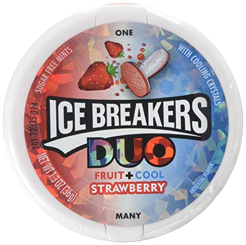 ICE BREAKERS Duo Sugar Free Mints, Strawberry, 1.3 Ounce (Pack of - Candy Gift Cane