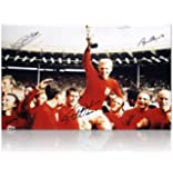 1966 England World Cup Photo Hand Signed By 5 Of The Team
