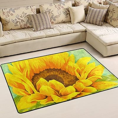 WOOR Yellow And Orange Sunflower Watercolor Living Area Rugs for Living Room Bedroom Dining Office 6 x 4 Feet Modern Floor Mat Home Decor