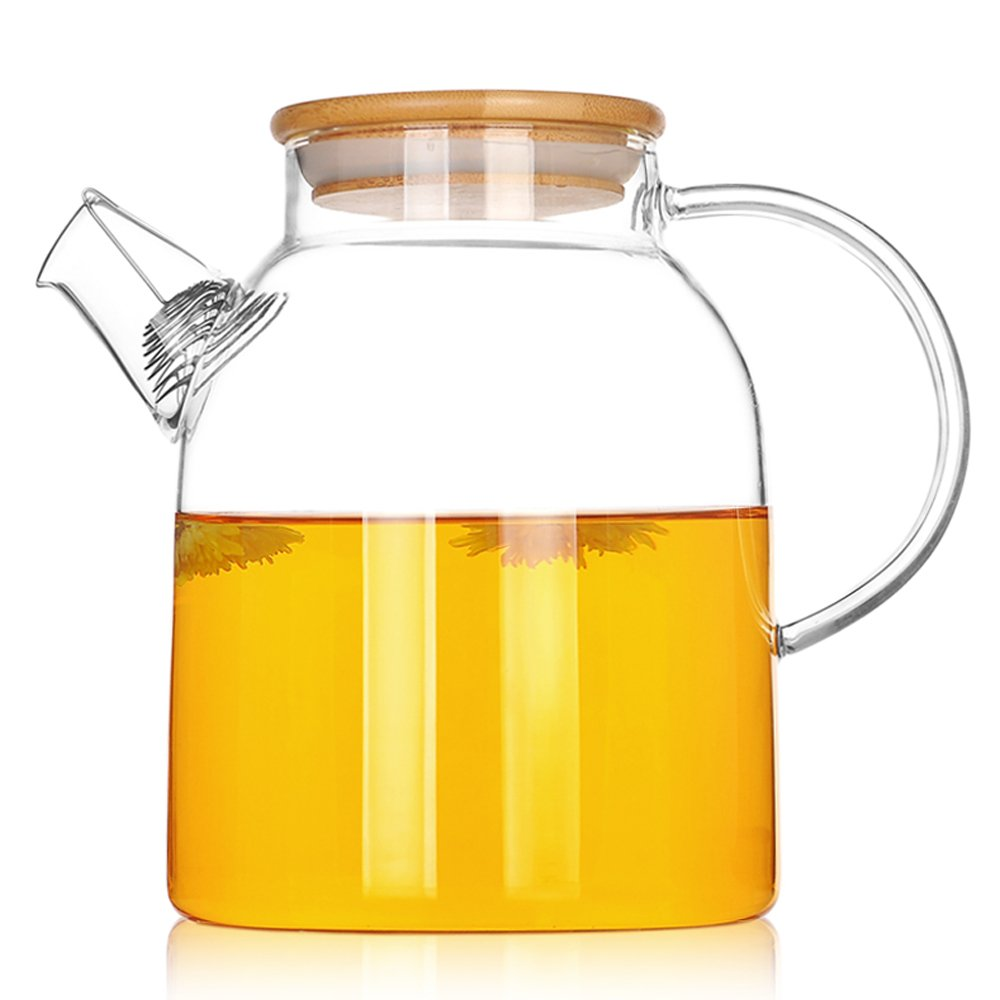 TAMUME 600ML Nordic Style 3-in-1 Glass Teapot with Removable Glass Infuser with Large Spout Non-Drip Fuss-free Pouring (600ml Glass)
